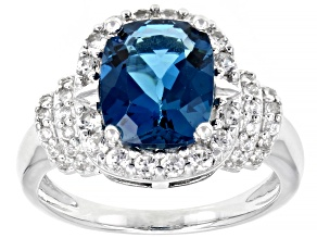 London Blue Topaz Rhodium Over Silver Ring 3.49ctw
