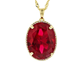 Red ruby 18k yellow gold over silver pendant with chain 20.58ctw