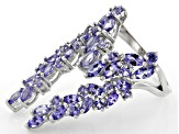 Blue Tanzanite Rhodium Over Silver Ring 3.74ctw