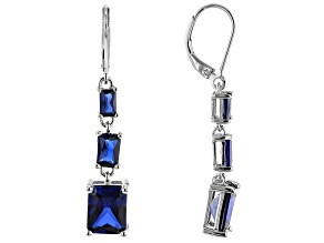 Blue Lab Created Sapphire Rhodium Over Silver Earrings 6.55ctw