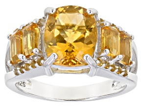 Golden Citrine Rhodium Over Silver Ring 3.12ctw