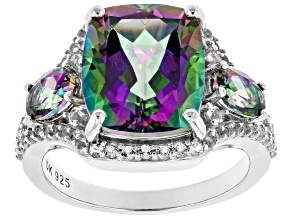 Green Mystic Fire(R) Topaz Rhodium Over Silver Ring 7.60ctw