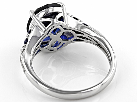 Blue Lab Created Sapphire Rhodium Over Silver Ring  6.25ctw