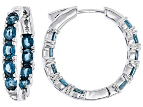 Teal Chrome Kyanite Rhodium Over Silver Inside/Outside Hoop Earrings 3.40ctw