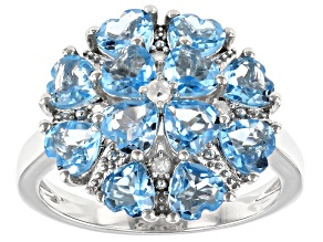 Swiss Blue Topaz Rhodium Over Sterling Silver Ring 2.79ctw