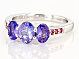 Blue tanzanite rhodium over sterling silver ring 1.58ctw