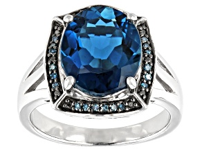 London Blue Topaz Rhodium Over Sterling Silver Ring 5.19ctw
