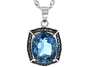 London Blue Topaz Rhodium Over Sterling Silver Pendant with Chain 5.19ctw