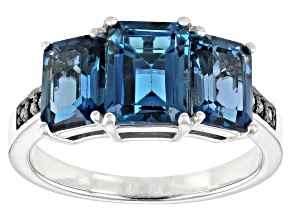 London Blue Topaz Rhodium Over Sterling Silver Ring 3.91ctw