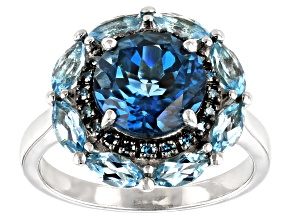 London Blue Topaz Rhodium Over Sterling Silver Ring 3.89ctw
