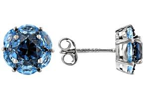 London Blue Topaz Rhodium Over Sterling Silver Stud Earrings 2.70ctw