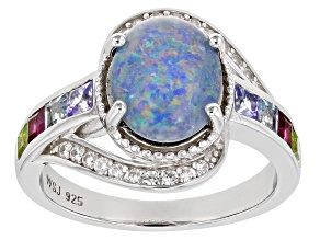 Multi-color Australian Opal Triplet Rhodium Over Silver Ring 1.66ctw