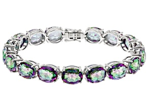 Multi-color Quartz Rhodium Over Sterling Silver Bracelet 35.11ctw