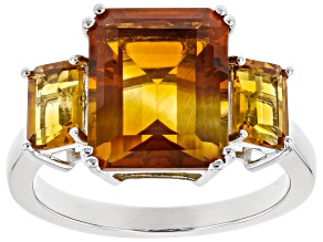 Orange Madeira Citrine Rhodium Over Silver Ring 4.68ctw
