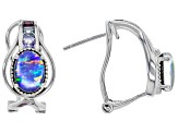Multi-color Australian Opal Triplet Rhodium Over Silver Earrings .56ctw