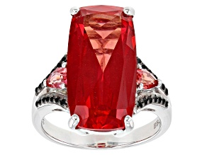 Pink Lab Created Padparadscha Sapphire Rhodium Over Silver Ring 11.27ctw