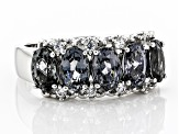 Gray Spinel Rhodium Over Silver Band Ring 2.45ctw