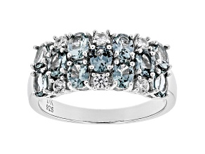 Gray Spinel Rhodium Over Silver Band Ring 1.98ctw