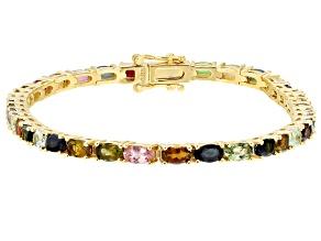 Multicolor multi tourmaline 18k yellow gold over sterling silver bracelet 7.04ctw