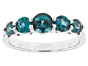 Teal Lab Created Alexandrite Rhodium Over Sterling Silver Band Ring 1.44ctw