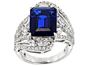 Blue Lab Created Spinel Rhodium Over Sterling Silver Ring 7.87ctw