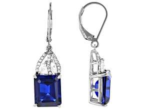 Blue Lab Created Spinel Rhodium Over Sterling Silver Earrings 8.75ctw