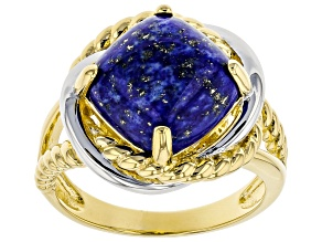 Blue Lapis Lazuli 18k Gold & Rhodium Over Silver Two-Tone Ring