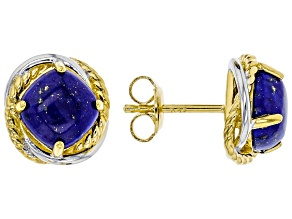 Blue lapis lazuli 18k yellow gold and rhodium over silver earrings 3.74ctw