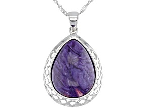 Purple Charoite Rhodium Over Silver Pendant With Chain
