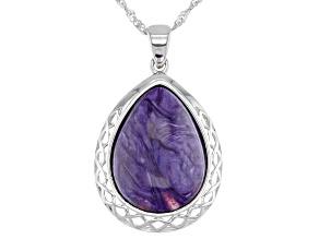Purple Charoite Rhodium Over Silver Pendant With Chain