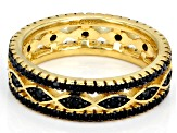 Black spinel 18k yellow gold over sterling silver ring 0.78ctw