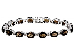 Brown Smoky Quartz Rhodium Over Sterling Silver Bracelet 16.58ctw