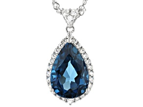 London Blue Topaz Rhodium Over Silver Pendant with Chain 6.62ctw