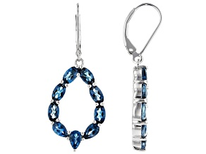 London Blue Topaz Rhodium Over Sterling Silver Dangle Earrings 4.44ctw
