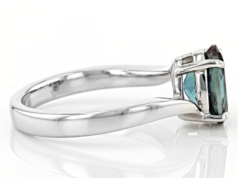 Blue Lab Created Alexandrite Rhodium Over Silver Ring 1.82ct