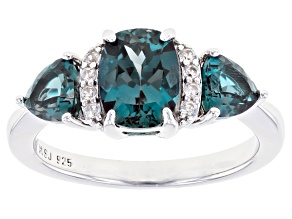 Blue Lab Created Alexandrite Rhodium Over Silver Ring 2.76ctw