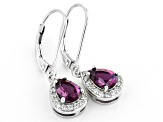 Blue lab created alexandrite rhodium over silver earrings 1.39ctw