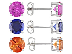 Orange Lab Created Padparadscha Sapphire Rhodium Over Silver Earrings 8.67ctw