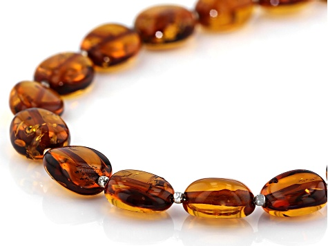 Orange Amber Bead Sterling Silver Necklace
