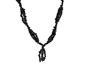 Black Spinel Knitted Endless Strand Chip and Nugget Necklace