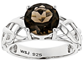 Brown smoky quartz rhodium over silver ring 2.07ct