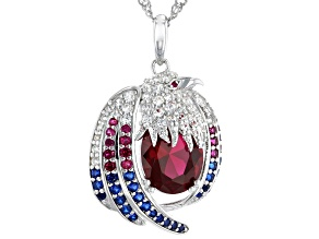 Red Lab Created Ruby Rhodium Over Silver Eagle Pendant with Chain 5.57ctw