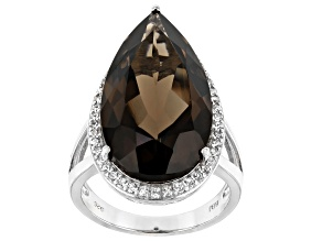 Brown Smoky Quartz Rhodium Over Silver Ring 12.81ctw