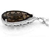 Brown Smoky Quartz Rhodium Over Silver Pendant With Chain 12.81ctw