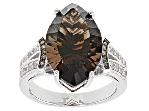 Brown Smoky Quartz Rhodium Over Sterling Silver Ring 7.12ctw