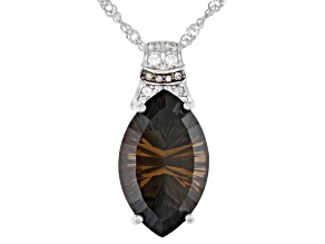 Brown Smoky Quartz Rhodium Over Sterling Silver Pendant with Chain 6.92ctw