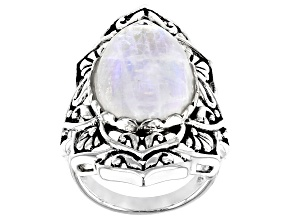 White moonstone Sterling Silver Oxidized solitaire Ring.