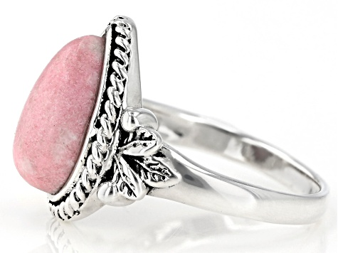 Pink thulite solitaire sterling silver ring