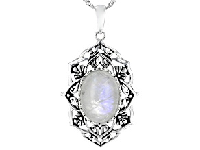 Multi-color Rainbow Moonstone Sterling Silver  Solitaire Pendant with Chain