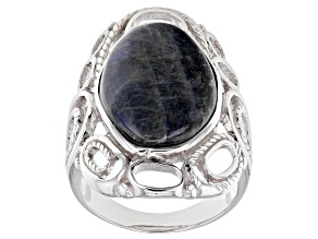 Gray labradorite rhodium over silver solitaire ring